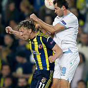 Fenerbahce's Dirk Kuijt (L) during their UEFA Europa League Quarter Final first match Fenerbahce between Lazio at Sukru Saracaoglu stadium in Istanbul Turkey on Thursday 04 April 2013. Photo by Aykut AKICI/TURKPIX