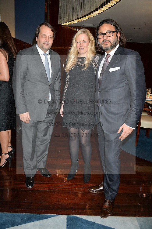 Left to right, SYLVAIN ERCOLI, ASTRID HARBORD and HANI FARSI at a dinner hosted by AA Gill & Nicola Formby in support of the Borne charity held at Rivea at the Bulgari Hotel, Knightsbridge, London on 3rd February 2015.