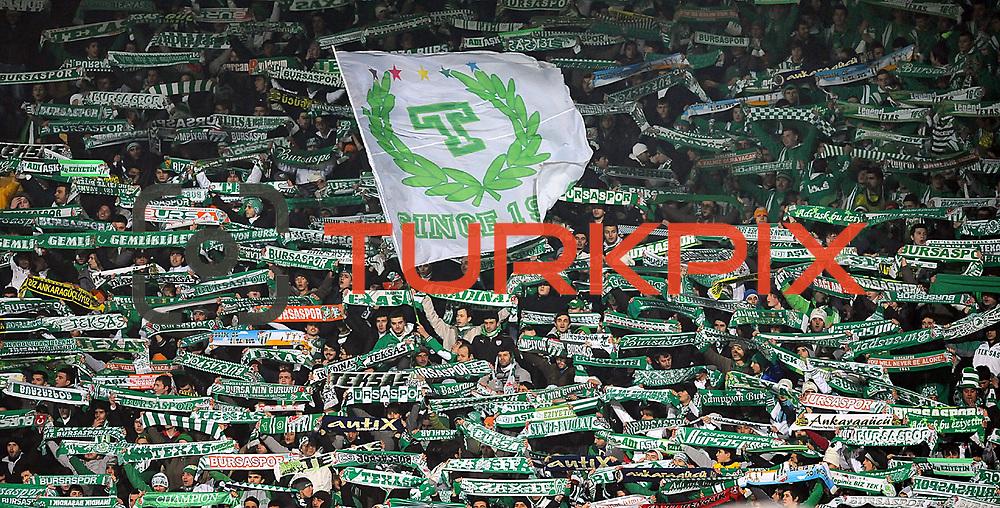 Bursaspor's supporters during their Turkish soccer super league match Bursaspor between Galatasaray at Ataturk Stadium in Bursa Turkey on Saturday, 29 January 2011. Photo by TURKPIX