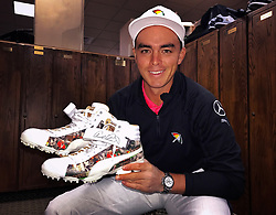 Rickie Fowler with his special Puma golf shoes honoring Arnold Palmer, Arnold Palmer Invitational, 2017