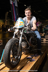 Simon Bronold with his custom Moto Guzzi drag bike Nosferatu in the Intermot Customized Hall 10 Sultans of Sprint display at the Intermot International Motorcycle Fair. Cologne, Germany. Sunday October 7, 2018. Photography ©2018 Michael Lichter.