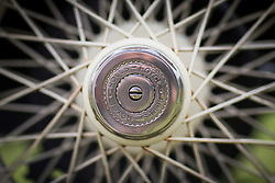 © Licensed to London News Pictures. 07/08/2016. Leeds UK. Picture shows the wheelhub of a 2025 Rolls Royce at the 37th Rolls Royce North rally that has taken place this weekend in the ground's of Harewood House in Yorkshire. The event bring's together some of the UK's most prized motor cars & their proud owners. Photo credit: Andrew McCaren/LNP