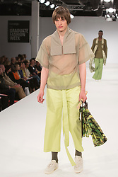 © Licensed to London News Pictures. 31/05/2015. London, UK. Collection by Heidi Stuttard. Fashion show of UCA Epsom at Graduate Fashion Week 2015. Graduate Fashion Week takes place from 30 May to 2 June 2015 at the Old Truman Brewery, Brick Lane. Photo credit : Bettina Strenske/LNP