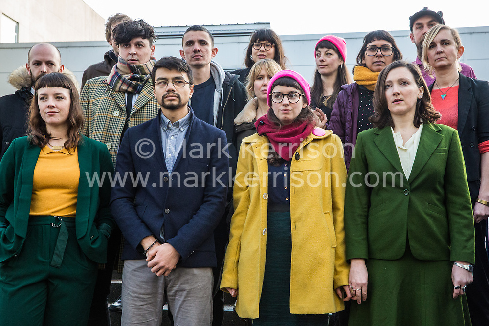 Chelmsford, UK. 6th February, 2019. The Stansted 15 stand outside Chelmsford Crown Court before sentencing. They were convicted on 10th December of an anti-terrorism offence under the Aviation and Maritime Security Act 1990 following non-violent direct action to try to prevent a Home Office deportation flight carrying precarious migrants to Nigeria, Ghana and Sierra Leone from taking off from Stansted airport in March 2017.