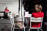 Extra Blond - and everyone is wearing red. Outside a cafe in downtown Brussels.