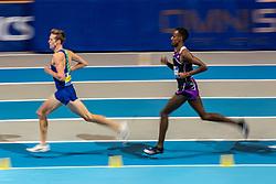 Mahadi Abdi Ali, Mike Foppen (L) in action on 3000 meter during the Dutch Indoor Athletics Championship on February 23, 2020 in Omnisport De Voorwaarts, Apeldoorn