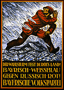 Der Wahlsturm fegt durch's Land! German World War I Poster shows a man in red running from a deluge of blue and white pieces of paper marked Bayerische Volkspartei. Text: The election storm is sweeping the land! Bavarian blue and white against Russian red! Bavarian People's Party. lithograph 1919 by Hermann Keimel, 1889-1948.