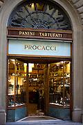 Window display of high class Procacci bar and coffee shop selling panini and tartufati in Via Tornabuoni, in Florence,Tuscany, Italy