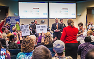 Protesters at Sen. Cassidy's town hall meeting in Metairie. LA at the Eastbank Regional Library Feb. 22, 2017 questioned the senator.
