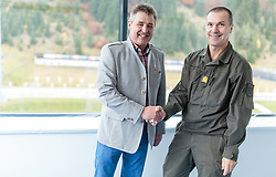 "02.11.2016, Biathlonarena, Hochilzen, AUT, IBU Weltmeisterschaft Biathlon, Hochfilzen, Pressekonferenz 100 Tage, im Bild Franz Berger (Organisationskomitee Hochfilzen) und General Major Mag. Andreas Pernsteiner (Österreichisches Bundesheer) // Franz Berger (organizing committee Hochfilzen) and Generalmajor Mag. Andreas Pernsteiner (Austrian Armed Forces) during a Pressconference ""100 Days"" in front of the IBU Biathlon World Championships 2017 at the Biathlonarena, Hochfilzen, Austria on 2016/11/02. EXPA Pictures © 2016, PhotoCredit: EXPA/ JFK"
