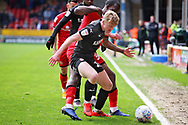 Barnsley defender Ben Williams (28) on the ball the EFL Sky Bet League 1 match between Walsall and Barnsley at the Banks's Stadium, Walsall, England on 23 March 2019.