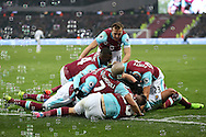 Manuel Lanzini of West Ham United celebrates scoring his sides 2nd goal to make it 2-1 with his teammates. Premier league match, West Ham Utd v West Bromwich Albion at the London Stadium, Queen Elizabeth Olympic Park in London on Saturday 11th February 2017.<br /> pic by John Patrick Fletcher, Andrew Orchard sports photography.
