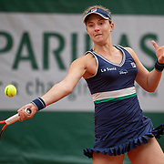 PARIS, FRANCE October 06. Nadia Podoroska of Argentina in action against Elina Svitolina of the Ukraine in the Quarter Finals of the singles competition on Court Philippe-Chatrier during the French Open Tennis Tournament at Roland Garros on October 6th 2020 in Paris, France. (Photo by Tim Clayton/Corbis via Getty Images)