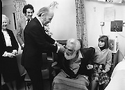 Noel Purcell Celebrates His 81st Birthday.23.12.1981..12.23.1981..23rd December 1981.. Noel Purcell celebrates his 81st birthday in the Adelaide Hospital.Even the President Mr Patrick Hillary finds the time to celebrate with Noel.