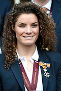 Koning Willem-Alexander ontvangt op Paleis Noordeinde de dames van het Nederlands team vrouwenvoetbal.<br /> <br /> King Willem-Alexander receives the ladies of the Dutch team women's football at Noordeinde Palace.<br /> <br /> Op de foto:  Dominique Janssen