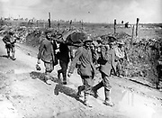 World War I 1914-1918: A Canadian casualty of the Battle of Vimy Ridge, April 1917, being evacuated by stretcher bearers. Wounded