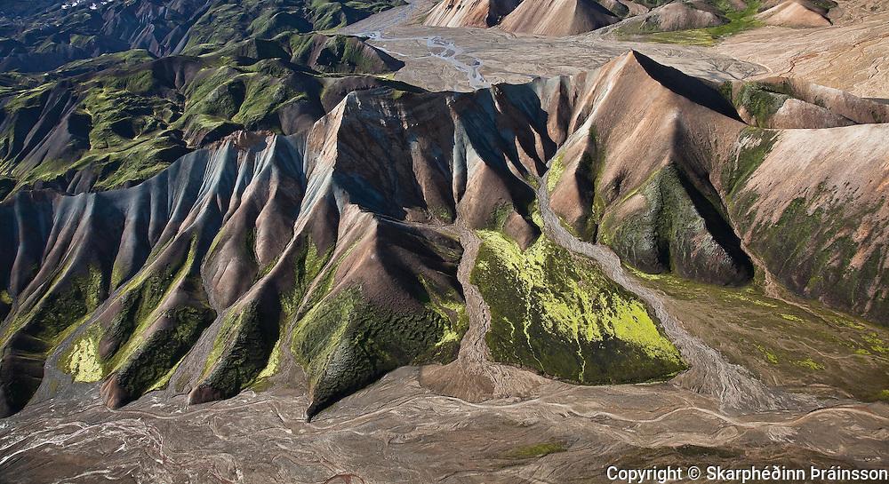 Arial view of Landmannalaugar, central highlands Iceland