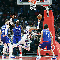 13 January 2018: Sacramento Kings center Willie Cauley-Stein (00) drives past LA Clippers center Willie Reed (35) during the LA Clippers 126-105 victory over the Sacramento Kings, at the Staples Center, Los Angeles, California, USA.
