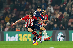 February 27, 2019 - Southampton, England, United Kingdom - Southampton midfielder Pierre-Emile Hojbjerg and Fulham forward Luciano Vietto battle for the ball during the Premier League match between Southampton and Fulham at St Mary's Stadium, Southampton on Wednesday 27th February 2019. (Credit Image: © Mi News/NurPhoto via ZUMA Press)