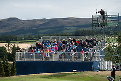 Gleneagles, Scotland, UK; 10 August, 2018.  Day three of European Championships 2018 competition at Gleneagles. Men's and Women's Team Championships Round Robin Group Stage. Four Ball Match Play format.  Pictured; Spectator stand on 8th green