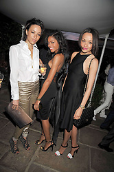 Left to right, Georgina Edewor-Thorley, NAOMI HARRIS and Kessiana Edewor-Thorley at The Ralph Lauren Sony Ericsson WTA Tour Pre-Wimbledon Party hosted by Richard Branson at The Roof Gardens, London on June 18, 2009
