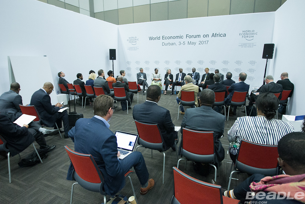 Mark Viso, President and Chief Executive Officer<br /> Pact, Mmamoloko Nkhensani Kubayi, Minister of Energy<br /> Ministry of Energy of South Africa, Kola Karim, Group Managing Director and Chief Executive Officer<br /> Shoreline Natural Resources and Gillian Caldwell, Chief Executive Officer<br /> Global Witness, Norman Bloe Mbazima, Deputy Chairman<br /> Anglo American South Africa, South Africa, Tim Hanstad, Co-Founder and Senior Adviser<br /> Landesa, Hlangusemphi Dlamini, Minister of Economic Planning and Development<br /> Office of H.M. the King of Swaziland   at the World Economic Forum on Africa 2017 in Durban, South Africa. Copyright by World Economic Forum / Greg Beadle