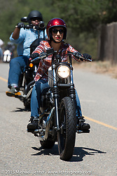 Riding in on Day one of the Born Free Vintage Chopper and Classic Motorcycle Show at the Oak Canyon Ranch in Silverado, CA. USA. Saturday, June 28, 2014.  Photography ©2014 Michael Lichter.