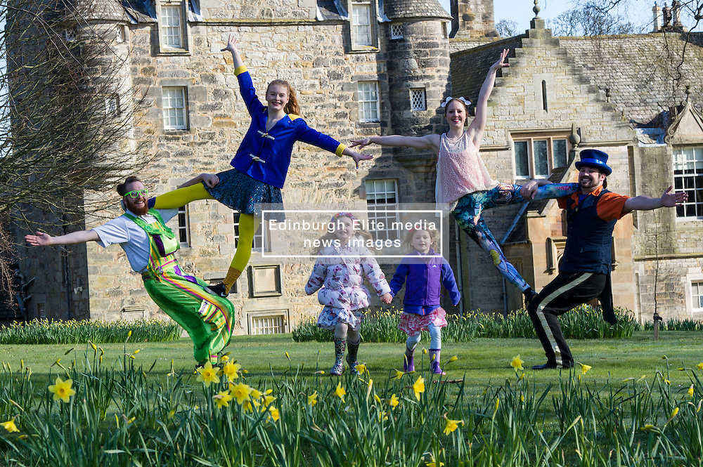 Pictured: Rob Thorburn (hat), Will Borrell, Alyssa Brough (blue jacket) and Kate McWilliam entertained Lily Donald (4 and floral hairband) and Isla Sutherland (4 bow headband) with their skills.<br /> <br /> The Festival of Museums launch featured performers, RobThorburn (hat), Will Borrell, Alyssa Brough (blue jacket) and Kate McWilliam from Circus Alba showcasing their skills.<br /> <br /> Ger Harley | EEm 30 March 2016