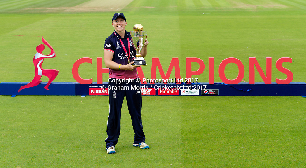 Winning captain, Heather Knight, holds the trophy after the Women's World Cup Final between England and India at Lord's Cricket Ground. Photo: Graham Morris/www.cricketpix.com / www.photosport.nz
