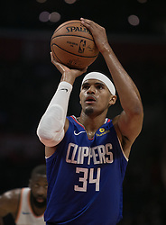 October 19, 2018 - Los Angeles, California, U.S - Tobias Harris #34 of the Los Angeles Clippers takes a free throw during their NBA game with the Oklahoma Thunder on Friday October 19, 2018 at the Staples Center in Los Angeles, California. Clippers defeat Thunder, 108-92. (Credit Image: © Prensa Internacional via ZUMA Wire)