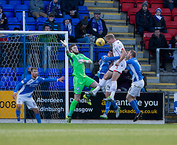 Ross County's Jay McEveley scoring their first goal. half time : St Johnstone 0 v 2 Ross County. SPFL Ladbrokes Premiership game played 19/11/2016 at St Johnstone's home ground, McDiarmid Park.