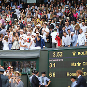 LONDON, ENGLAND - JULY 16: Mirka Federer, wife of Roger Federer celebrates with family and staff in their box after Roger Federer's win in the Gentlemen's Singles final during the Wimbledon Lawn Tennis Championships at the All England Lawn Tennis and Croquet Club at Wimbledon on July 16, 2017 in London, England. (Photo by Tim Clayton/Corbis via Getty Images)
