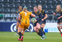 Laura Keates of Worcester Warriors Women braces for contact with Hannah West of Wasps FC Ladies - Mandatory by-line: Nick Browning/JMP - 24/10/2020 - RUGBY - Sixways Stadium - Worcester, England - Worcester Warriors Women v Wasps FC Ladies - Allianz Premier 15s