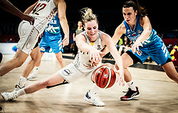 Kim Mestdagh of Belgium vs Teja Oblak of Slovenia during basketball match between Women National teams of Belgium and Slovenia in the Qualification for the Quarter-Finals of Women's Eurobasket 2019, on July 2, 2019 in Belgrade Arena, Belgrade, Serbia. Photo by Vid Ponikvar / Sportida