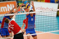 20170525 NED: 2018 FIVB Volleyball World Championship qualification, Koog aan de Zaan<br />Peter Mlynarcik (9) of Slovakia, Radoslav Presinsky (16) of Slovakia <br />©2017-FotoHoogendoorn.nl / Pim Waslander