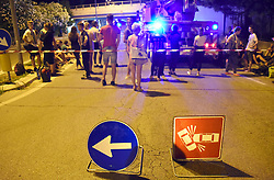 Italy, Rimini - July 3, 2018.German bus with students on board wedged under the Miramare bridge in Via Cavalieri di Vittorio Veneto.Three hours of work and many inconveniences and some slightly injured (Credit Image: © Manuel Migliorini/Ropi via ZUMA Press)