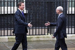 © licensed to London News Pictures. London, UK 25/10/2012. David Cameron (L) and European Council president Herman van Rompuy meeting in Downing Street on 25/10/12. Photo credit: Tolga Akmen/LNP