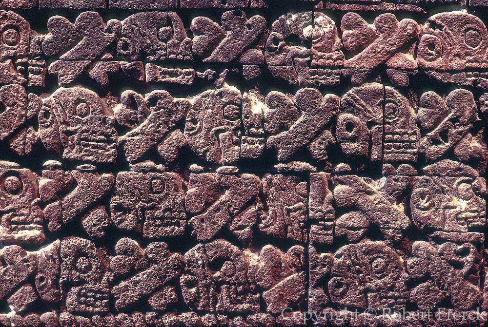 MEXICO, MEXICO CITY, MUSEUM Aztec: the Tzompantli altar of skulls