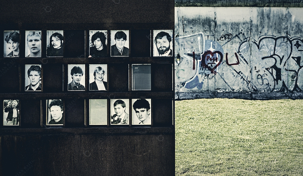 Wall with the photographs of all those people that died trying to cross the Berlin Wall during the years it existed. This memorial wall is located in the Bernauer street were the Wall divided the city. It is estimated by official fonts than more than 100 people died trying to cross the Wall,many shot by  border  policemen of the Democrat Republic of Germany that had order to shoot to any person that tried to illegally cross the border to the western section.