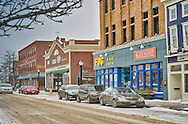 An image of Rockland, Maine after a February snowstorm