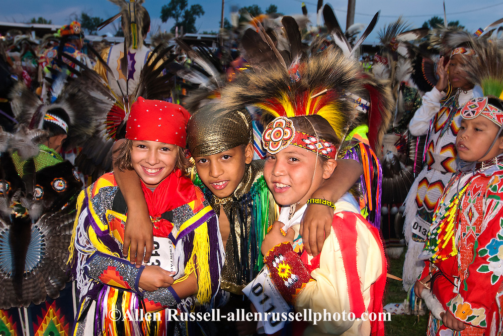 Crow Fair, powwow, Grand Entry, young dancers, Crow Indian Reservation, Montana.