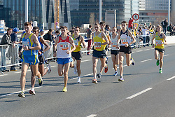 14.04.2013, Wien, AUT, Vienna City Marathon 2013, im Bild Elite Läufer, Oleg Marusin, RUS, (#18), Valerijs Zolnerovics, LAT (#20), Artem Kuftyrev, RUS (#23), Vasiliy Glukhov, RUS (#22), Aleksey Sokolov, RUS (#9), Oleksandr Sitkovskyy, UKR (#11) // during Vienna City Marathon 2013, Vienna, Austria on 2013/04/14. EXPA Pictures © 2013, PhotoCredit: EXPA/ Gerald Dvorak