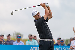 May 9, 2019 - Dallas, TX, U.S. - DALLAS, TX - MAY 09: Ryan Palmer hits his tee shot on the short par 3 eighth hole during the first round of the AT&T Byron Nelson on May 9, 2019 at Trinity Forest Golf Club in Dallas, TX. (Photo by Andrew Dieb/Icon Sportswire) (Credit Image: © Andrew Dieb/Icon SMI via ZUMA Press)
