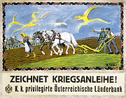 World War I 1914-1918.  Farmer and his wife ploughing with two horses. A soldier is speaking  to the farmer and motioning towards soldiers in the distance. Text: 'Subscribe to the War Loan!'  Austrian poster 1918. Agriculture