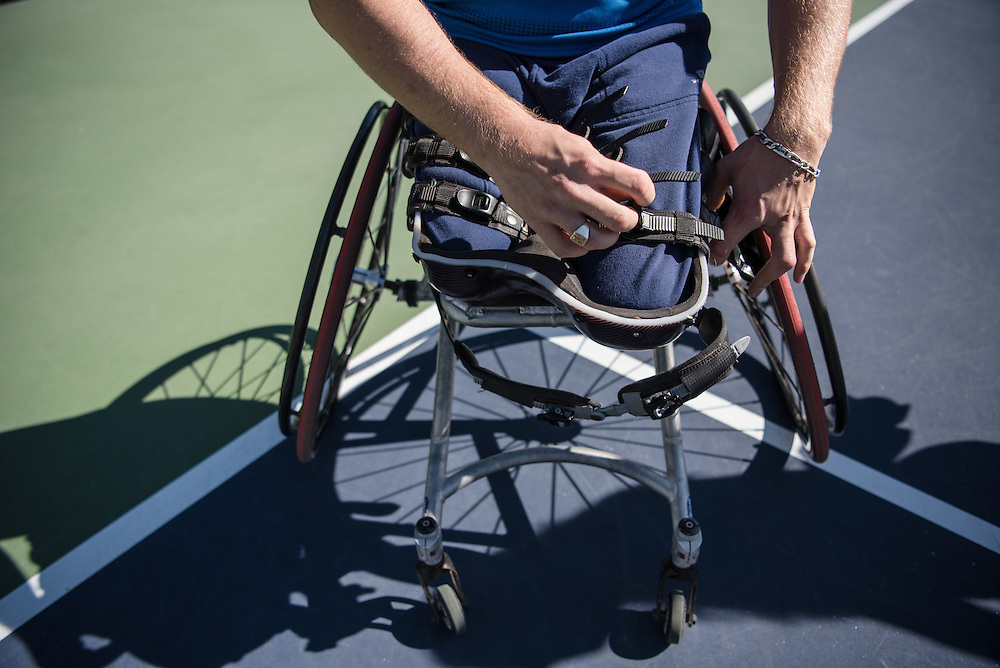 Stephane Houdet, Rio Paralympic Gold Medalist, prepares for a portrait on Wednesday, November 4, 2016, at the Marguerite Tennis Pavilion in Mission Viejo, California. <br /> <br /> Photo by Morgan Lieberman/ Sports Shooter Academy