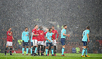 Football - 2017 / 2018 Premier League - Manchester United vs. AFC Bournemouth<br /> <br /> Bournemouth and Manchester United players in the snow filled box at Old Trafford.<br /> <br /> COLORSPORT/LYNNE CAMERON