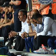 Fenerbahce's coach Ismail Kartal (L) during their Turkish Superleague soccer match Mersin Idman Yurdu between Fenerbahce at the Mersin stadium in Mersin Turkey on Sunday 17 May 2015. Photo by Aykut AKICI/TURKPIX