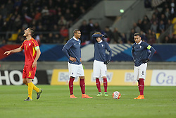 28.03.2016, Stade Mmarena, Le Mans, FRA, UEFA U21 Euro Qualifikation, Frankreich vs Mazedonien, Gruppe 3, im Bild haller sebastien, rabiot adrien, tolisso corentin // during the UEFA U21 Euro qualifier group 3 match between France and Macedonia at the Stade Mmarena in Le Mans, France on 2016/03/28. EXPA Pictures © 2016, PhotoCredit: EXPA/ Pressesports/ Vincent Michel<br /> <br /> *****ATTENTION - for AUT, SLO, CRO, SRB, BIH, MAZ, POL only*****