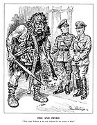 "Fire and Sword. ""This, mein Fuehrer, is the new uniform for our armies in Italy."" (General Heinrich von Vietinghoff Scheel introduces a barbarian to Hitler, ready to destroy and murder)"