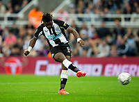 Football - 2021 / 2022  EFL Carabao Cup - Round Two - Newcastle United vs Burnley - St Jame's Park - Wednesday 25th August 2021<br /> <br /> Allan Saint-Maximin of Newcastle United misses a penalty in the penalty shootout<br /> <br /> Credit: COLORSPORT/Bruce White